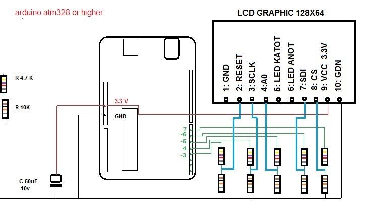 kết nối spi đầy đủ 5 pin arduino với lcd